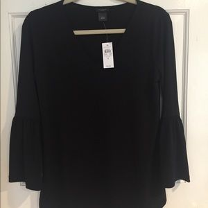 Black Ann Taylor outlet blouse with bell sleeves.